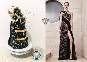 Black and Gold beauty couture cakers international collaboration 2018 - Cake by DixieDelight by Lusie Lioe