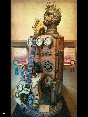 Steampunk Freestanding Guitar and Amplifier - Cake by Kerry Rowe