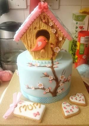 Birdhouse cookie cake! - Cake by SugarMagicCakes (Christine)