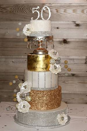Silver & Gold 50th Birthday Cake - Cake by Cakes ROCK!!!