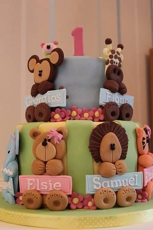 Joint 1st Birthday Cake - Cake by Strawberry Lane Cake Company