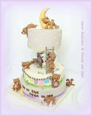 Fondant Cake Toppers Gender Reveal Collaboration - Cake by Karen Dodenbier