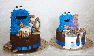 Cookie monster dad and baby  - Cake by Sonia Huebert