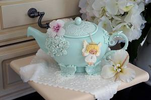 My teapot with an angel teabag! x - Cake by Julie