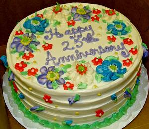 Buttercream side pattern floral cake - Cake by Nancys Fancys Cakes & Catering (Nancy Goolsby)