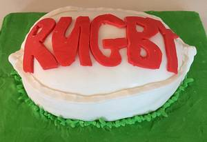 Rugby Ball cake! - Cake by Woody's Bakes