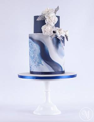 Icy Blue Marble Cake with Chanel inspired camellias - Cake by Enchanting Merchant Company