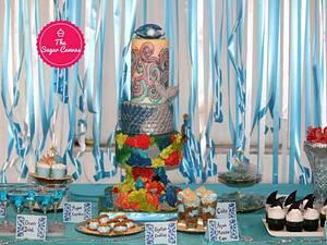 PDCA  Dessert Table Collaboration - Theme AQUA - Cake by TheSugarCanvas