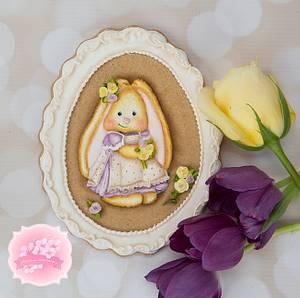 Vintage Bunny Frame Cookie - Cake by Bobbie
