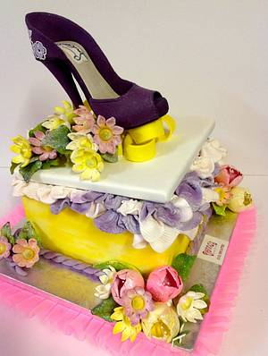 A STEP OUTSIDE of the BOX..... Gift Box Cakes Sugar Shoes  - Cake by Cakeladygreece