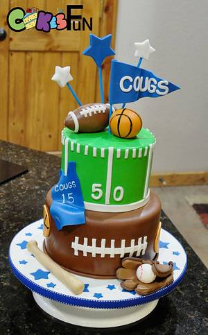 Sports themed cake - Cake by Cakes For Fun