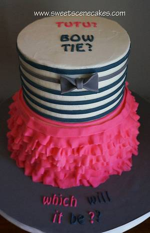 Bow Tie and Tutu Gender Reveal - wow, an original design - Cake by Sweet Scene Cakes