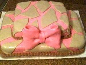 pink giraffe print fondant  - Cake by Samantha Corey