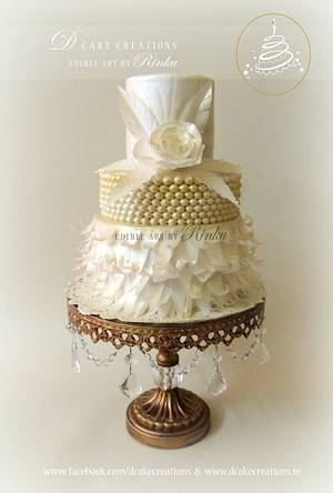 White & Gold Paper Flower Cake - Cake by D Cake Creations®