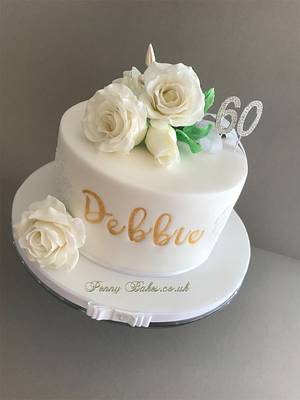 bouquet of white roses. - Cake by Penny Sue