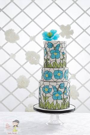 'Wedding Day Blues' Stained Glass Effect Wedding Cake - Cake by Natasha Shomali