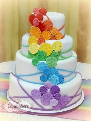 Rainbow Wedding Cake - Cake by Cakesphere