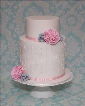 Pink Austin Rose & Silver Brunia Wedding Cake - Cake by CakeAvenue