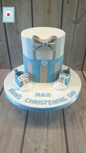 Baby booties and bowtie. - Cake by Sandra's Cake House