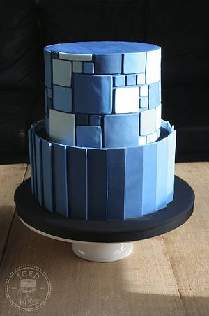 Straight Ruffles & Square tiles - Cake by IcedByKez