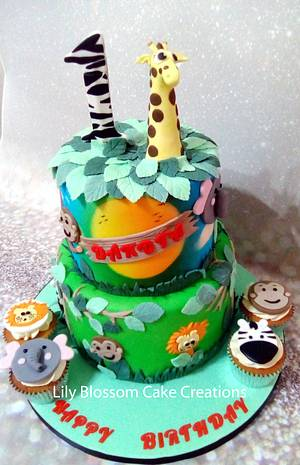 Jungle Airbrushed Cake - Cake by Lily Blossom Cake Creations