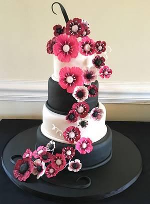 Pink, White and Black Wedding Cake - Cake by Kim