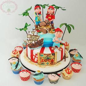 Pirate cake and cupcakes - Cake by Cofetaria Dana