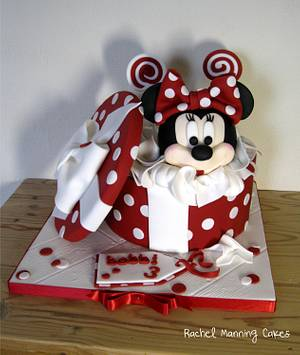 Minnie Mouse Gift Box Cake - Cake by Rachel Manning Cakes