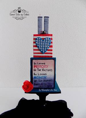 In Remembrance of 9/11 - Cake by Sweet Side of Cakes by Khamphet