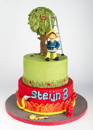 Fireman Sam rescues a cat - Cake by LonsTaartCake