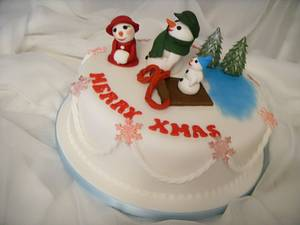 'The Frosty Family' Christmas Cake - Cake by Christine