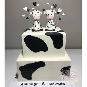 baby cow engagement cake - Cake by cakesbylucille