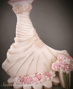 Couture Cakers International -- Wedding Dress - Cake by Sword's Sugars