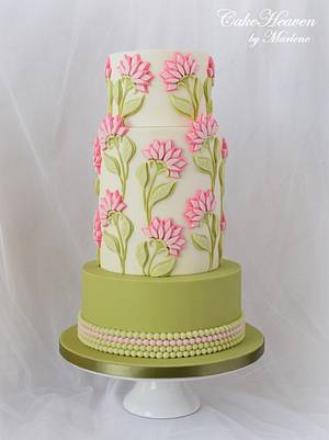 Bas Relief Pink Flowers Cake - Cake by CakeHeaven by Marlene