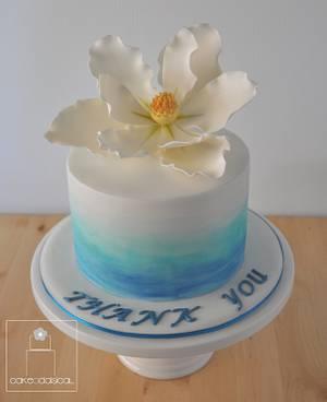 Magnolia Watercolour Cake - Cake by Cakeadaisical