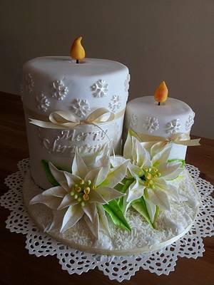 Christmas candle cake with white poinsettia  - Cake by Bistra Dean