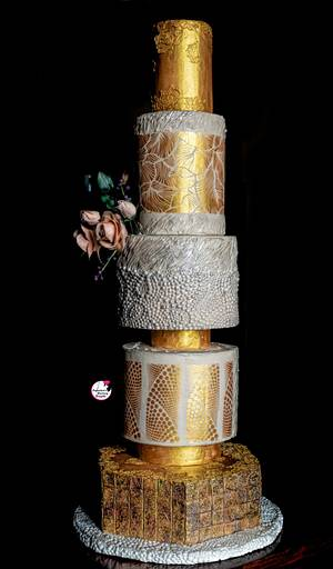 Gold & Beige Wedding Cake  - Cake by Sayantanis Culinary Delight