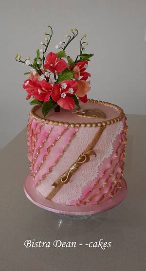 Bougainvillea and ruffles   - Cake by Bistra Dean