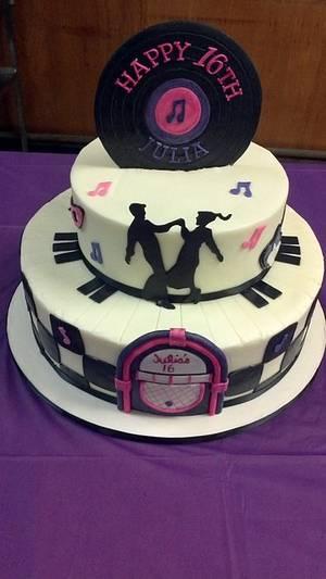 50's theme birthday cake - Cake by subwaygirl23