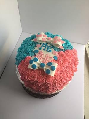 Pink/blue gender reveal cake - Cake by Cerobs
