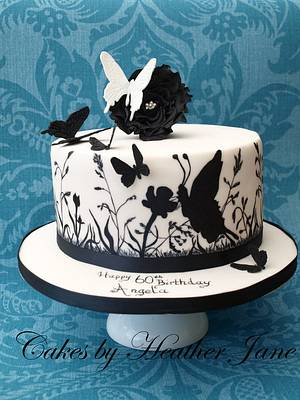 Wildflowers and butterflies hand painted cake - Cake by Cakes By Heather Jane