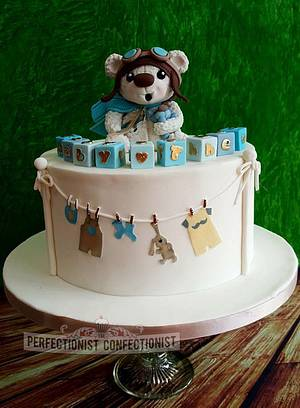 Baby Theo - Teddy Bear Christening Cake - Cake by Niamh Geraghty, Perfectionist Confectionist