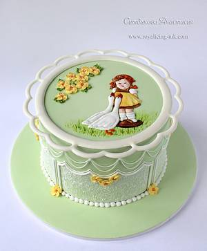 Girl and geese - Cake by Anastasia