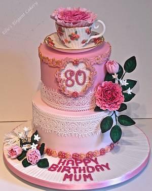 Vintage lace, Peony and teacup - Cake by Ellie @ Ellie's Elegant Cakery