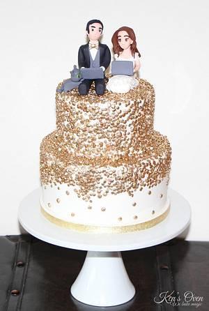 Gold Sequins Wedding Cake with Gumpaste Toppers - Cake by Kendari Gordon