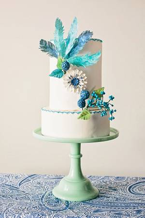 Flowers and Feathers Bridal Shower Cake - Cake by Princess of Persia