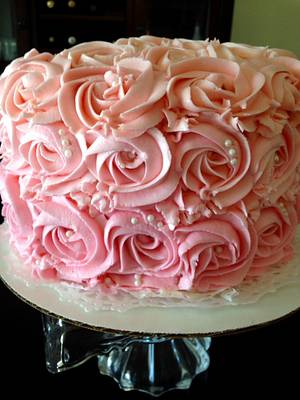 Pink Rosette Ombre Cake - Cake by Sweet Confections by Karen