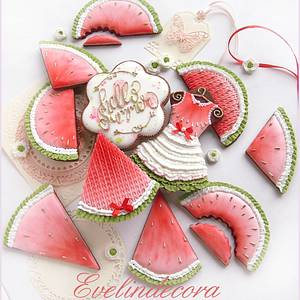 Watermelon cookies - Cake by Evelindecora
