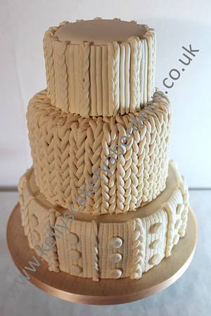 knitted wedding cake - Cake by Kellys Cakery