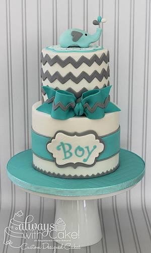 Chevron & Elephant Baby Shower Cake - Cake by AlwaysWithCake